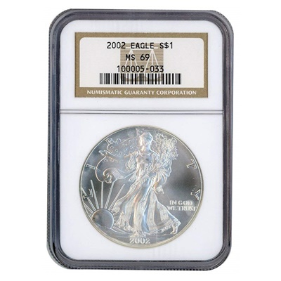 2002 1oz USA Silver Eagle MS-69 NGC